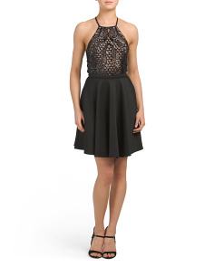 Juniors Halter Sequin Lace Dress