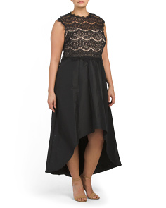 Plus Lace Gown With Illusion Neck