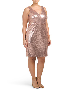 Plus Sequin V-neck Sleeveless Dress