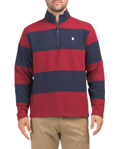 Long Sleeve Striped Quarter Zip Sweater