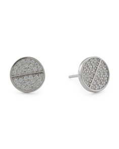 Sterling Silver Cz Pave Circle Stud Earrings
