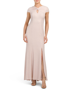 Petite Metallic Keyhole Neck Dress