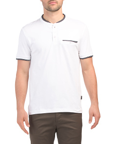Short Sleeve Solid Pocket Henley