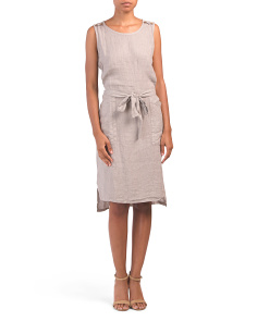 Made In Italy Tie Front Linen Dress