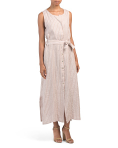 Made In Italy Linen Blend Stripe Maxi Dress