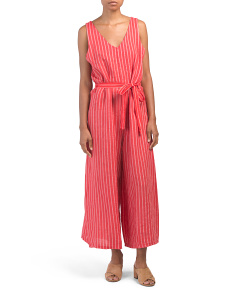 Made In Italy Linen Blend V-neck Jumpsuit