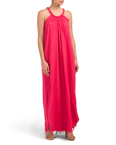 Made In Italy Gauze Halter Linen Blend Maxi Dress