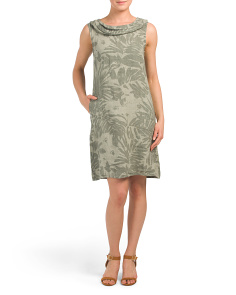 Made In Italy Palm Print Linen Blend Dress