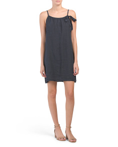 Made In Italy Linen Side Tie Dress