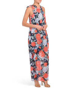 Sleeveless Floral Maxi Dress With Slit
