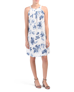 Made In Italy Linen Blend Floral Dress