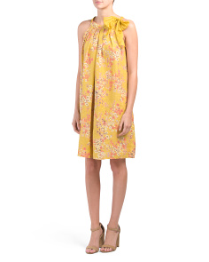Made In Italy Linen Floral Tie Dress