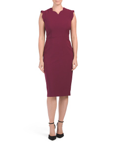 Scalloped Midi Sheath Dress