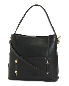 Triple Compartment Hobo With Novelty Hardware