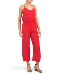Made In Italy Linen Ruffle Waist Jumpsuit