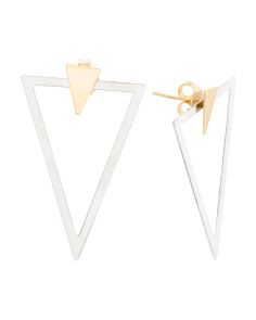 Made In Italy Sterling Silver 2 Piece Triangle Earrings