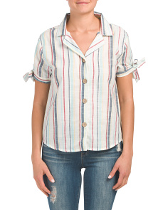 Striped Button Up Collared Top