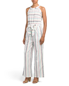 Striped Cotton Tie Front Jumpsuit
