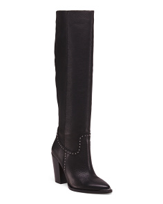Studded Leather Knee High Boots