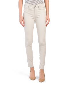 Barbara High Rise Leather Ankle Jeans