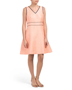 Dot Jacquard Fit & Flare With Piping Dress