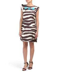 Silk Blend Embellished Zebra Sheath