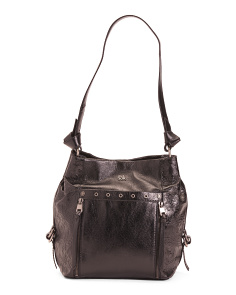 Runyon Bucket Leather Hobo With Embossed Pocket