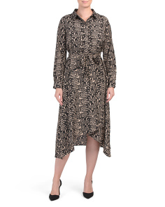 Snake Printed Asymmetrical Midi Shirt Dress