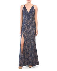 Made In Usa Iris Lace Side Slit Gown