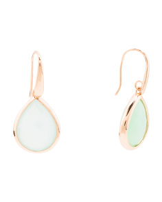 Made In Italy Aqua Chalcedony Drop Earrings