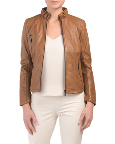 Petite Leather Belted Collar Jacket
