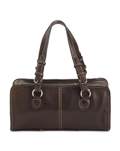 Classy Belt Stitched Leather Satchel