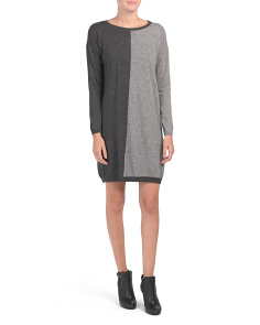 Made In Italy Cashmere Blend Color Block Sweater Dress