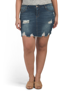 Plus Juniors Destructed Jean Skirt