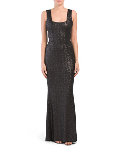 Raven Square Neck Mermaid Sequin Gown