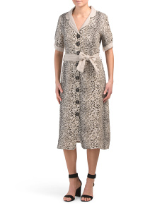 Made In Italy Animal Print Linen Midi Dress