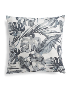 22x22 Made In Usa Faux Linen Tropical Print Pillow
