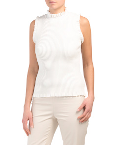 Ruffle Edge Ribbed Tank