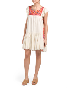 Square Neck Embroidered Mini Dress