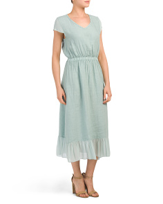 Made In Italy Flounce Hem Linen Midi Dress