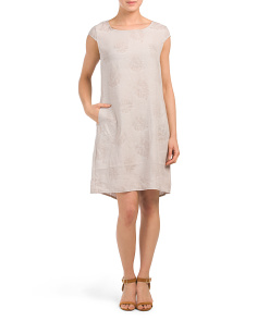 Made In Italy Linen Blend Embroidered Shift Dress