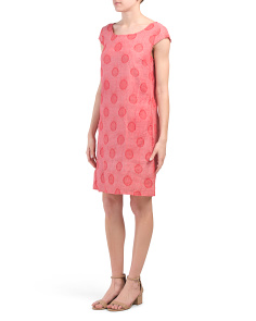 Made In Italy Linen Blend Dot Dress