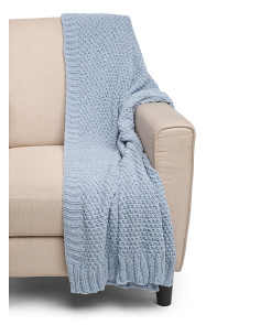 Popcorn Knit Chenille Throw