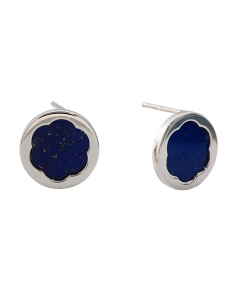 Made In Italy Sterling Silver 15mm Lapis Earrings