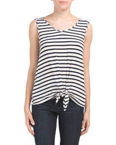 Sleeveless Striped Tie Front Top