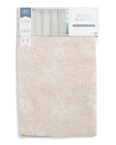 38x84 Set Of 2 Linen Look Floral Curtains