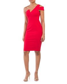Made In Usa Crepe Cut Out Midi Dress