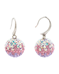 Made In Italy Sterling Silver Crystal Ball Drop Earrings