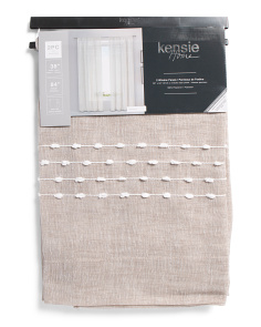 38x84 Set Of 2 Linen Look Pom Sheer Curtains