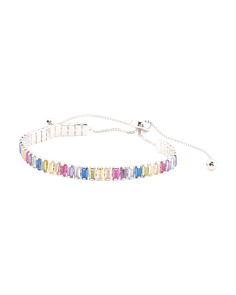 Sterling Silver Multi Colored Cz Slider Bracelet